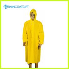 100% PVC lange gelbe Männer Regenmantel (Rvc-133)