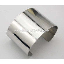 Brillante alto acabado pulido Plain brazalete de plata brazalete establece