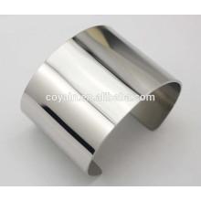 Brilhante polonês fino Brincos de pulseira de prata lisa