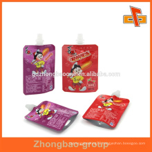 wholesale food grade stand up liquid packaging bags with spout