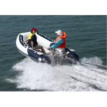 RIB inflatable fishing boat with outboard engine