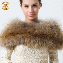 2014 Новый модный женский теплый зимний ошейник для настоящей шкуры шкуры енота