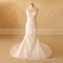 Romántica sirena de espalda ilusión de cuentas y Applique deshuesada vestido de boda de encaje
