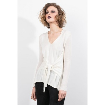 Tie Front V Neck Sweater