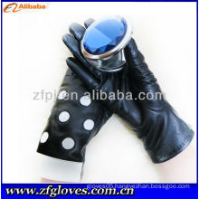 2013 black genuine leather sexy sheepskin glove
