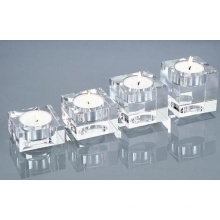 Cuboid Clear White Crystal Candle Holder Set (JD-ZT-008)
