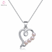 Italy Jewellery Sun Ball Pearl Silver Necklace, Floating Heart Locket Jewelry Pendant 925 Sterling Silver Necklace