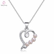 Itália jóias sol bola pérola colar de prata, flutuante coração medalhão pingente de jóias 925 colar de prata esterlina