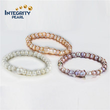 Mixed Pearl Button & Kürbis 3 Farbe gemischte Farbe Perle Armband