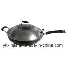 Cookware Aluminum Non-Stick Wok Kitchenware with Stainless Steel Cover