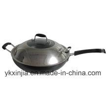 Кухонная посуда Алюминий с антипригарным кухонным оборудованием Wok с крышкой из нержавеющей стали