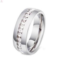 Titânio barato e anéis de aço inoxidável com pedra preciosa para mulheres