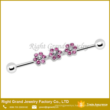 316L Surgical Steel Barbell Pink CZ Daisy Flowers Industrial Barbell 36mm