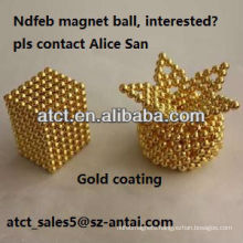 Powerful rare earth sintered gold coating neodymium magnet, magnetic balls