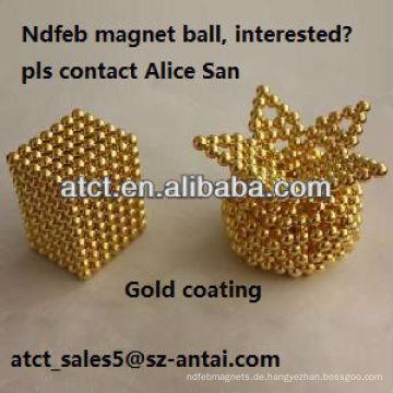 Leistungsstarke seltene Erden gesintert Goldbeschichtung Neodym-Magneten, magnetische Kugeln
