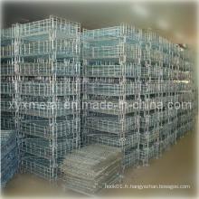 Panier en acier galvanisé ou en poudre, pliable et empilable