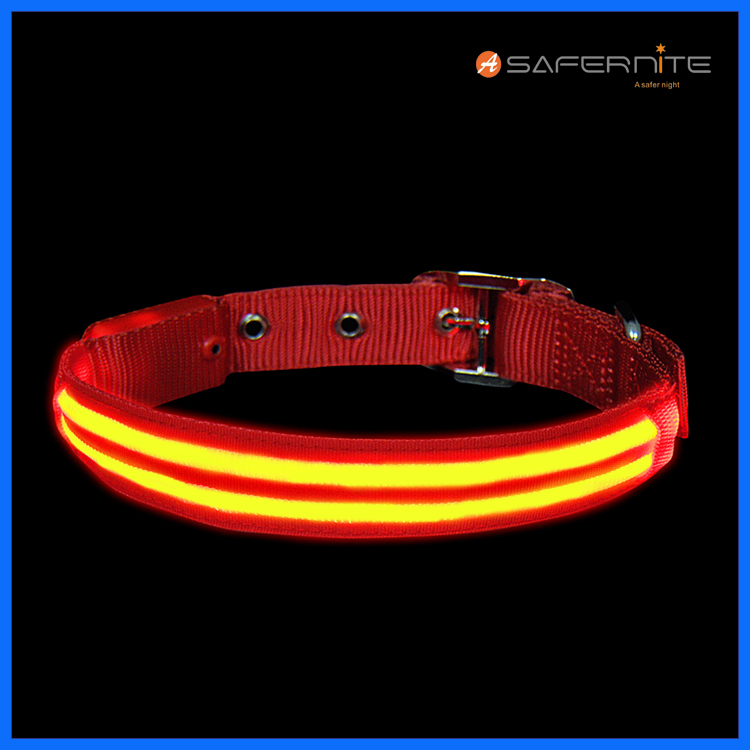 Doble fibra Led Light Up Collar de perro iluminado