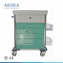 AG-MT025B conveniente con carretilla médica de la emergencia del color-acero con las ruedas