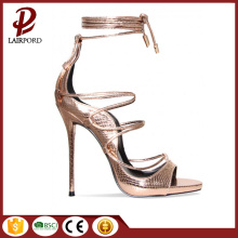 Gold Serpentine elegant high heel women sandals