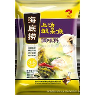 Condimento de pescado Haidilao Condimento para pescado con vegetales en escabeche en caldo