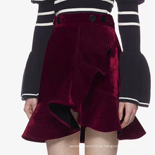 Asymmetric Velvet Short Skirt Mode Damenkleid