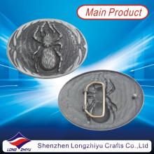 Seu próprio logotipo de metal de design antigo prata acabamento aranha fivela de cinto (LZY201300006)