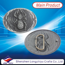 Ваш собственный дизайн логотипа Металлическая античная серебряная отделка Пряжка пояса паука (LZY201300006)