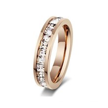 Fashion rose colored diamond ring, rose gold tungsten ring women jewelry