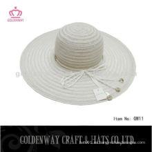 Barato Lady hilo verano sombrero blanco diseño de moda