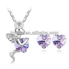 Amethyst coração jóias conjunto ângulo meninas colar coração stud brinco