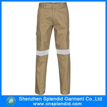 Custom alta visibilidade Khaki multi bolsos trabalho calças masculinas