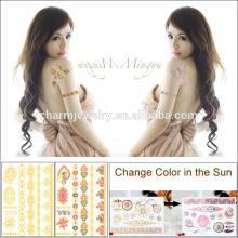 Autocollant de tatouage métallique de mode en gros change de couleur dans le soleil pour adultes BS-8025