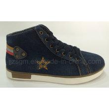 Alta Moda Top Washed Denim Street Casual Sapatos
