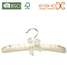 Weiße Farbe gepolsterter Satin Kleiderbügel für Kleider (MR008)