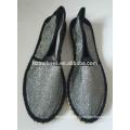 New espadrille shoes black stitching rubber sole handmade jute flats