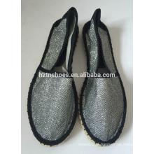 Novos sapatos espadrille stitching preto solo de borracha handmade jute flats