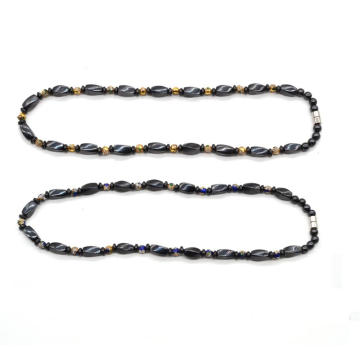 Magnetic Jewelry Hematite Twist Beads Necklace with Cloisonne Beads and Magnetic Twist Beads