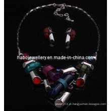 Conjunto de jóias de pedra quadrado / colar de moda (xjw13217)