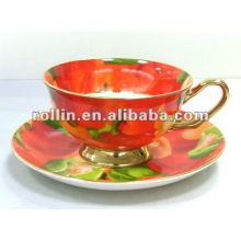 De buena calidad taza de té de porcelana china y platillo