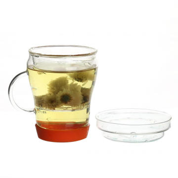 Loose Tea Leaf Handblown Glass Tea Cup With Glass Lid