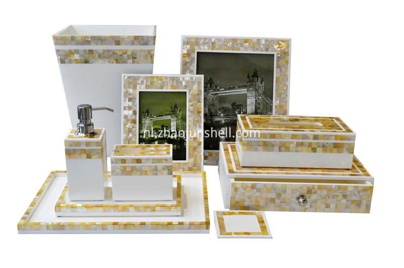 golden mother of pearl bathroom set