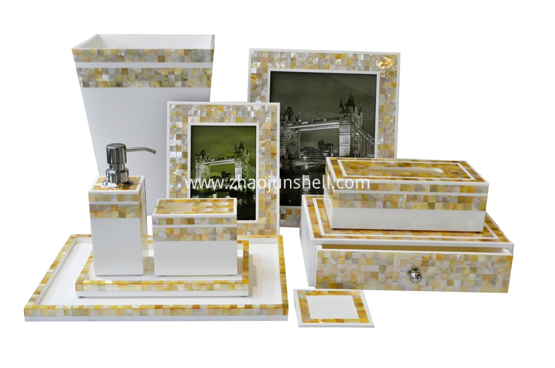 golden mother of pearl bathroom accessory set