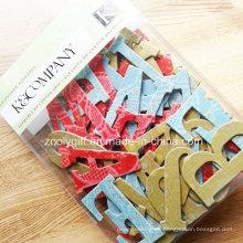 Etiquetas engomadas del arte del papel del cartón del brillo del alfabeto / de la letra del handmade 3D hecho a mano