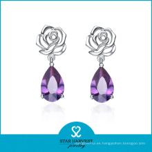 Precio de fábrica de las pendientes de la piedra preciosa directa de la joyería de la boda de plata (E-0081)