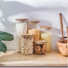 Empty Food Storage Glass Jars Glass with Bamboo Lid