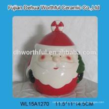 2016 Papelería popular de Papá Noel diseño de cerámica frasco de almacenamiento