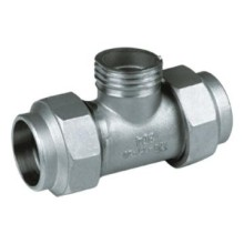Acero inoxidable tope soldado Pipefitting rosca macho Tee
