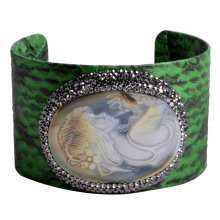 Мода ювелирные изделия кожаный браслет с Gemstone Pave Rinestone бисера