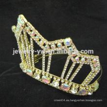 Venta al por mayor manufactory coloreó la corona de la corona de la boda del rhinestone del oro AB
