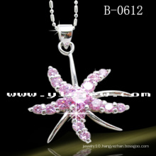 925 Sterling Silver Flower Pendant with Pink CZ (B-0612)